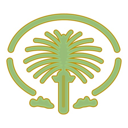 The Palm Jumeirah icon in cartoon style isolated on white background. Arab Emirates symbol vector illustration. Ilustrace