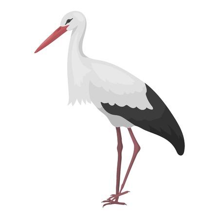 Ooievaar pictogram in cartoon stijl geïsoleerd op een witte achtergrond. Vogel symbool vectorillustratie. Stock Illustratie