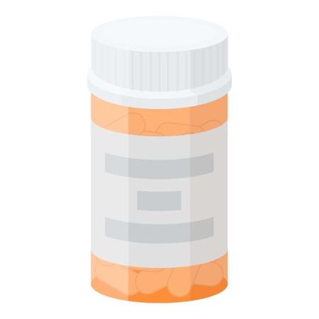 prescription drugs: Prescription bottle icon in cartoon style isolated on white background. Drugs symbol vector illustration.