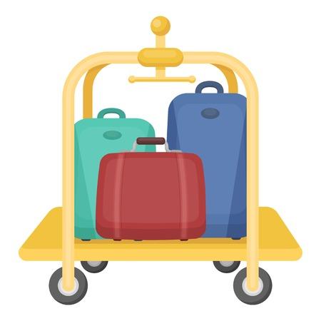 Luggage cart icon in cartoon style isolated on white background. Hotel symbol vector illustration. Illustration