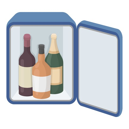 mini bar: Mini-bar icon in cartoon style isolated on white background. Hotel symbol vector illustration.