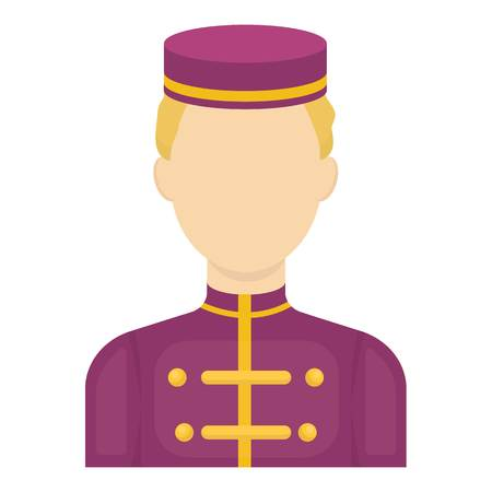 bellboy: Bellboy icon in cartoon style isolated on white background. Hotel symbol vector illustration.