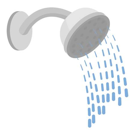 cubicle: Shower icon in cartoon style isolated on white background. Hotel symbol vector illustration. Illustration