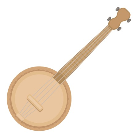 Banjo icon in cartoon style isolated on white background. Musical instruments symbol vector illustration Illustration