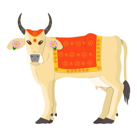 Sacred cow icon in cartoon style isolated on white background. India symbol vector illustration. Illustration