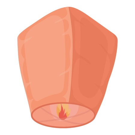 chiangmai: Sky lantern icon in cartoon style isolated on white background. Light source symbol vector illustration Illustration