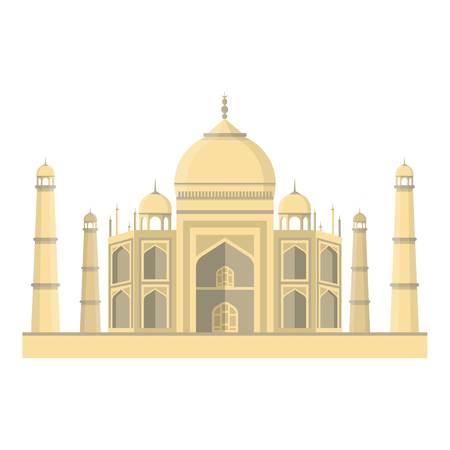 agra: Taj Mahal icon in cartoon style isolated on white background. India symbol vector illustration.