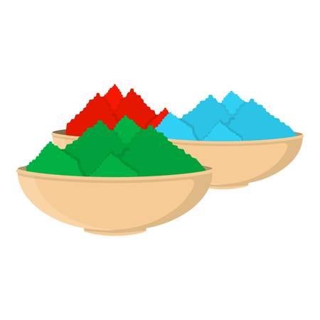 pichkari: Colorful powder icon in cartoon style isolated on white background. India symbol vector illustration.