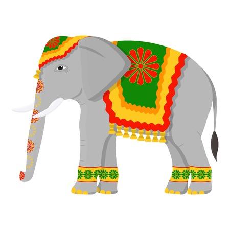 漫画のスタイルの白い背景で隔離のインド象アイコン。インドのシンボル ベクトル イラスト。