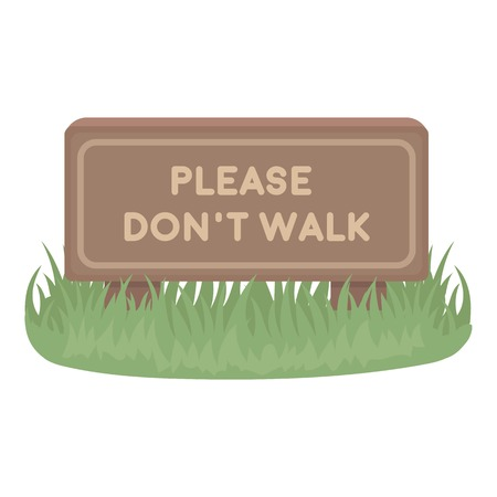 dont walk: Please dont walk icon in cartoon style isolated on white background. Park symbol vector illustration. Illustration