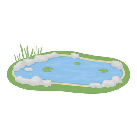 garden pond: Pond icon in cartoon style isolated on white background. Park symbol vector illustration. Illustration