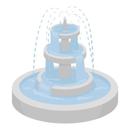 漫画のスタイルの白い背景で隔離の噴水のアイコン。公園のシンボル ベクトル イラスト。