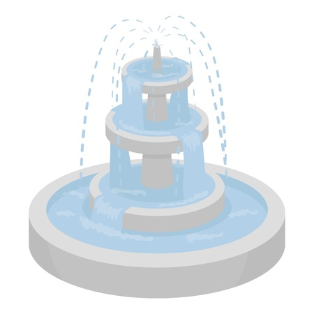ramble: Fountain icon in cartoon style isolated on white background. Park symbol vector illustration.