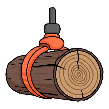 Hydraulic crane icon in cartoon style isolated on white background. Sawmill and timber symbol vector illustration.