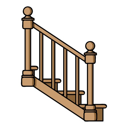 upstairs: Stairs icon in cartoon style isolated on white background. Sawmill and timber symbol vector illustration.