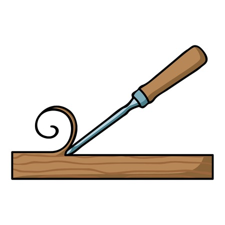 chisel: Chisel icon in cartoon style isolated on white background. Sawmill and timber symbol vector illustration.
