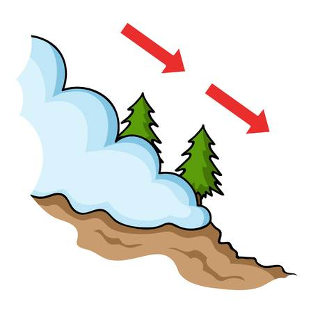avalanche: Avalanche icon in cartoon style isolated on white background. Ski resort symbol vector illustration.