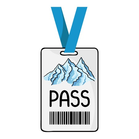 ski pass: Ski pass icon in cartoon style isolated on white background. Ski resort symbol vector illustration.