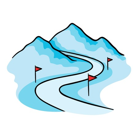 chalet: Ski track icon in cartoon style isolated on white background. Ski resort symbol vector illustration. Illustration