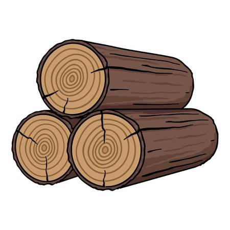 Stack of logs icon in cartoon style isolated on white background. Sawmill and timber symbol vector illustration. Ilustracja