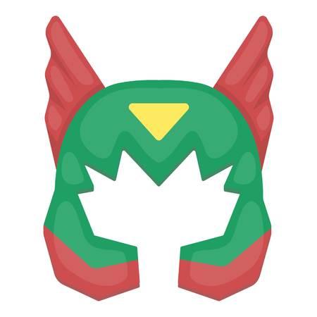 Superheros helmet icon in cartoon style isolated on white background. Superheros mask symbol vector illustration.