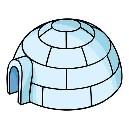 Igloo icon in cartoon style isolated on white background. Ski resort symbol vector illustration. Ilustrace