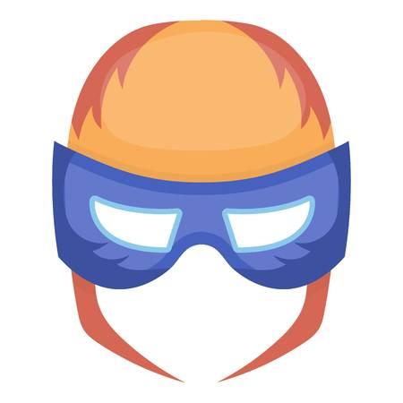 Full head mask icon in cartoon style isolated on white background. Superheros mask symbol vector illustration.