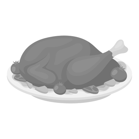 thanksgiving day symbol: Roasted turkey icon in monochrome style isolated on white background. Canadian Thanksgiving Day symbol vector illustration. Vettoriali