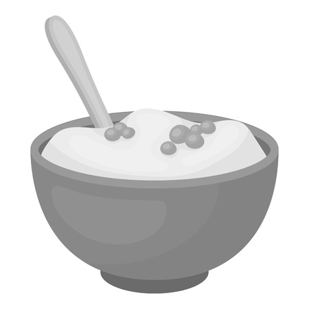 puree: Mashed potatoes icon in monochrome style isolated on white background. Canadian Thanksgiving Day symbol vector illustration.