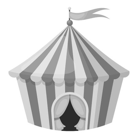 outdoor event: Circus tent icon in monochrome style isolated on white background. Circus symbol vector illustration. Illustration