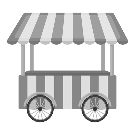 cart: Snack cart icon in monochrome style isolated on white background. Circus symbol vector illustration. Illustration