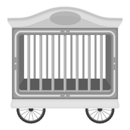 circus caravan: Circus wagon icon in monochrome style isolated on white background. Circus symbol vector illustration. Illustration