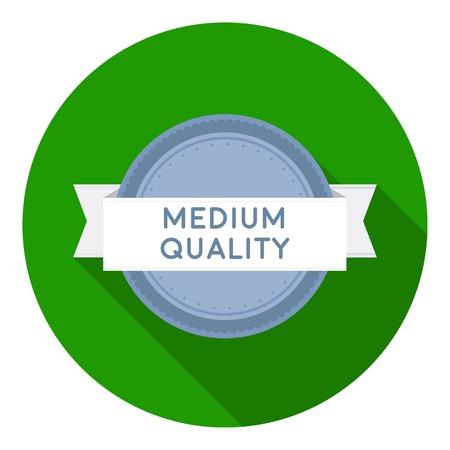 medium: Medium quality icon in flat style isolated on white background. Label symbol vector illustration.