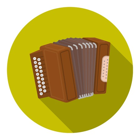 Accordion icon in flat style isolated on white background. Oktoberfest symbol vector illustration.