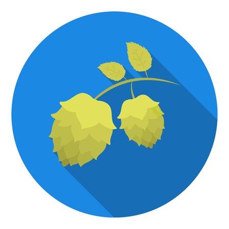 bier festival: Hops icon in flat style isolated on white background. Oktoberfest symbol vector illustration.