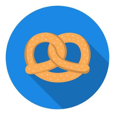 bretzel: Pretzel icon in flat style isolated on white background. Oktoberfest symbol vector illustration. Illustration