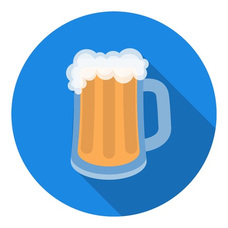 draughts: Beer mug icon in flat style isolated on white background. Oktoberfest symbol vector illustration.