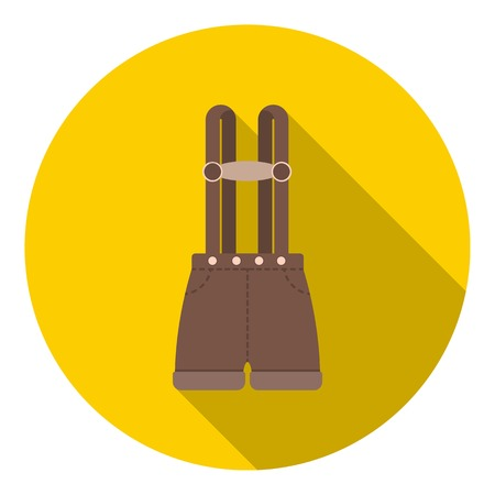 lederhosen: Lederhosen icon in flat style isolated on white background. Oktoberfest symbol vector illustration.