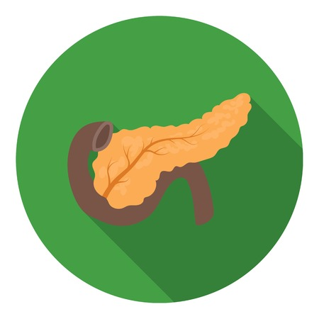 pancreas: Pancreas icon in flat style isolated on white background. Organs symbol vector illustration.