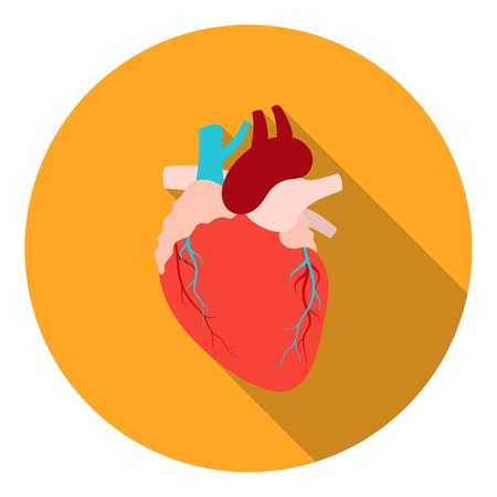 Heart icon in flat style isolated on white background. Organs symbol vector illustration. Illustration