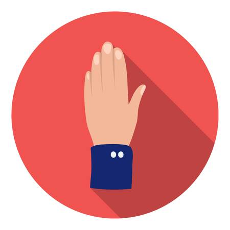 hi five: High five icon in flat style isolated on white background. Patriot day symbol vector illustration.