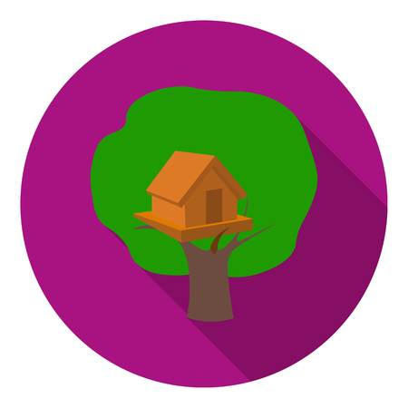 front or back yard: Tree house icon in flat style isolated on white background. Play garden symbol vector illustration.