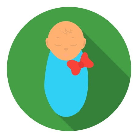 swaddle: Infant icon in flat style isolated on white background. Pregnancy symbol vector illustration.