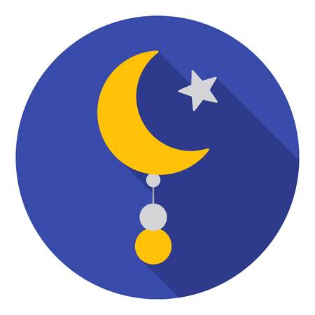 sufism: Crescent and Star icon in flat style isolated on white background. Religion symbol vector illustration.