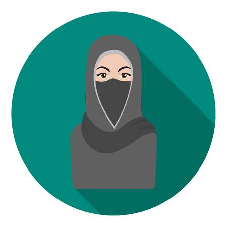 niqab: Niqab icon in flat style isolated on white background. Religion symbol vector illustration. Illustration