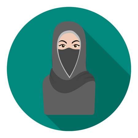 Niqab icon in flat style isolated on white background. Religion symbol vector illustration. Illustration