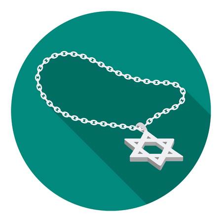 lavaliere: Star of David icon in flat style isolated on white background. Religion symbol vector illustration. Illustration