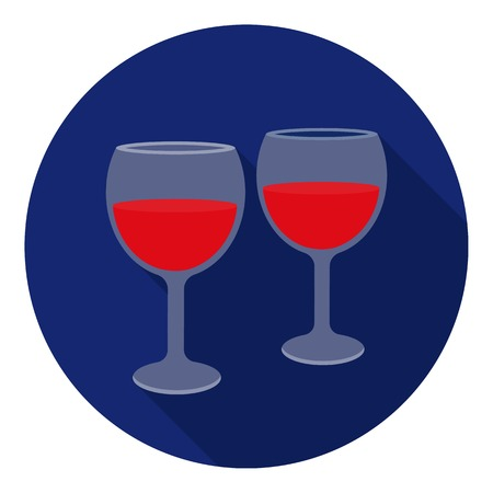 affection: Wine glasses icon in flat style isolated on white background. Romantic symbol vector illustration.