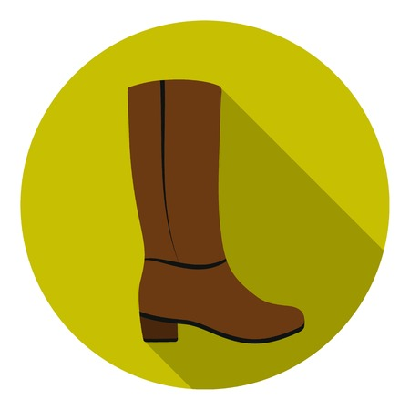 knee boots: Knee high boots icon in flat style isolated on white background. Shoes symbol vector illustration.