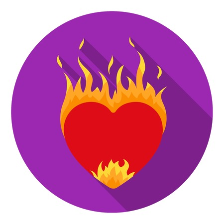 Heart in flame icon in flat style isolated on white background. Romantic symbol vector illustration. Illustration